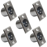 SAPT258 - 3 Pin XLR Male Nickel Panel Mount Connectors (5 Pack)