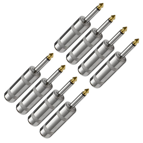 "SAPT3 (8 Pack) - Large Barrel 1/4"" Nickel Connector Mono"