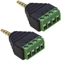 "SAPT523 - Pair of 1/8"" (3.5mm) Stereo TRRS Male to 4 Screw AV Terminal Balun Connectors"