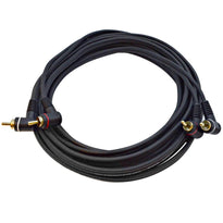 SARCARA20- 20 Foot Right Angle Dual RCA Male to Dual RCA Male Audio Stereo Patch Cable
