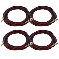 SASGC-BR10 - 4 Pack of 10 Foot Supreme Guitar or Instrument Cables - Black & Red Woven Tweed Jacket