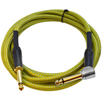 SASGC-OL10 - 10 Foot Supreme Guitar or Instrument Cable - Light Green Woven Tweed Jacket