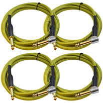 SASGC-OL10 - 4 Pack of 10 Foot Supreme Guitar or Instrument Cables - Light Green Woven Tweed Jacket