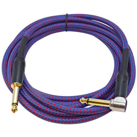SASGC-RB10 - 10 Foot Supreme Guitar or Instrument Cable - Royal Blue Woven Tweed Jacket