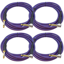SASGC-RB10 - 4 Pack of 10 Foot Supreme Guitar or Instrument Cables - Royal Blue Woven Tweed Jacket
