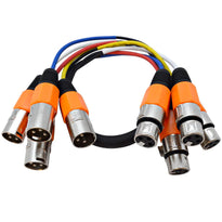 SASN4O - 4 Channel 2 Foot Balanced XLR Snake Cable - Orange Cable Shell