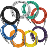 SASTSX-10 - 8 Pack of 10 Foot Multi-Color 1/4 Inch TS Patch Cables