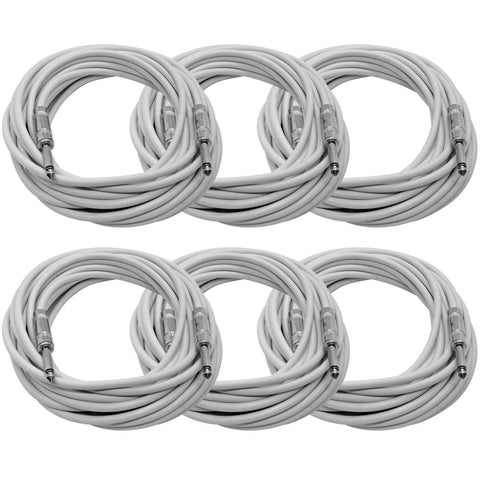 SASTSX-25 - 6 Pack of White 25 Foot TS Patch Cables