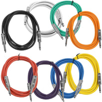 SASTSX-6 - 8 Pack of 6 Foot Multi-Color 1/4 Inch TS Patch Cables