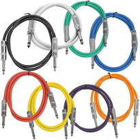 SASTSX-2 - 8 Pack of 2 Foot Multi-Color 1/4 Inch TS Patch Cables