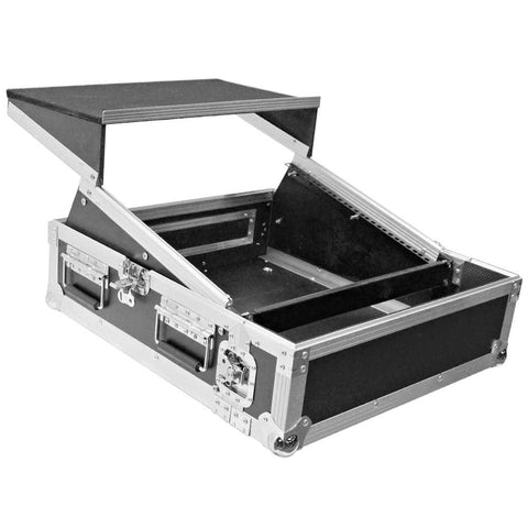 SATAC2x10 - Heavy Duty 2 Space ATA Rack Case with 10U DJ Mixer Top and Laptop Shelf