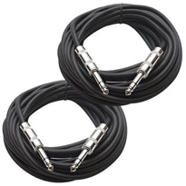 SATRX-25 - Pair of Black 25 Foot 1/4 Inch TRS Patch Cables