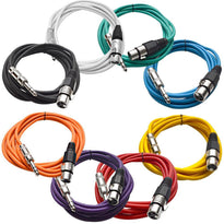 SATRXL-F10 - 8 Pack of Multi-Color 10 Foot XLR Female to 1/4 Inch TRS Patch Cables