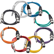SATRXL-F2 - 8 Pack of Multi-Color 2 Foot XLR Female to 1/4 Inch TRS Patch Cables