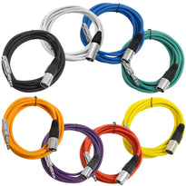 SATRXL-M10 - 8 Pack of Multi-Color 10 Foot XLR Male to 1/4 Inch TRS Patch Cables