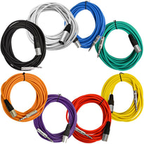 SATRXL-M25 -  8 Pack of Multi-Color 25 Foot XLR Male to 1/4 Inch TRS Patch Cables