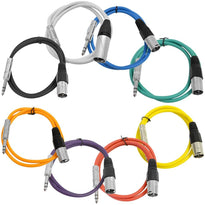 SATRXL-M2 - 8 Pack of Multi-Color 2 Foot XLR Male to 1/4 Inch TRS Patch Cables