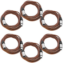 SAXLX-25 - 6 Pack of Brown 25 Foot XLR Microphone Cables