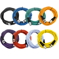 SAXLX-25 - 8 Pack of 25 Foot Colored XLR Patch or Microphone Cables