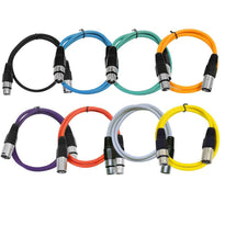 SAXLX-2-Multi - 8 Pack of Colored 2 Foot XLR Patch Cables - 2' Mic Cable Cords