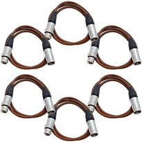 SAXLX-3 - 6 Pack of Brown 3 Foot XLR Patch Cables