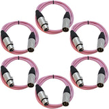 SAXLX-3 - 6 Pack of Pink 3 Foot XLR Patch Cables