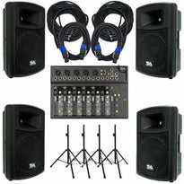"PA DJ Package - 7 Channel Mixer, 2 Powered 12"" Speakers, 2 Passive 12"" Speakers, Speaker Stands & Cables"