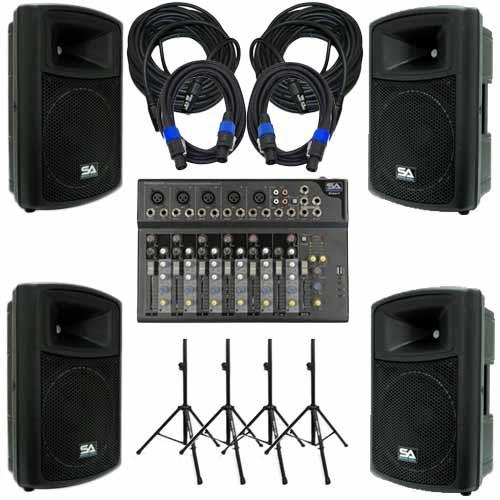 PA DJ Package - 7 Channel Mixer, 2 Powered 12