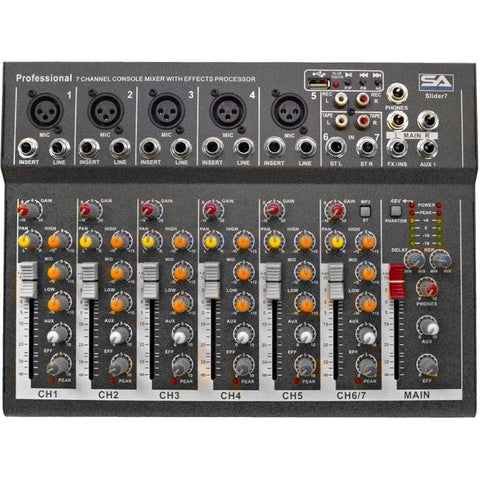 Slider7-BT- 7 Channel Mixer Console with USB and Bluetooth Streaming