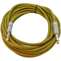 SAGCSYW-18 - 18' Yellow Woven Guitar/Instrument Cable