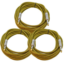 SAGCSYW-18-3Pack - 18' Yellow Woven Guitar/Instrument Cable (3 Pack)