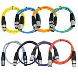 SAXLX-3 - 8 Pack of Multiple Colors 3 Foot XLR Patch Cables
