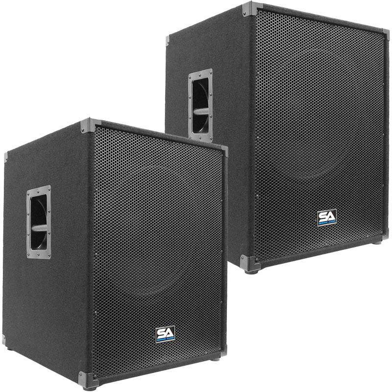 Pair Of 18 Inch Powered Subwoofer Bass Cabinets   800 Watts RMS Each |  Powered 18 Inch Sub Cabs | Powered 18 Inch Sub Woofers | Powered 18 Sub |  Power ...