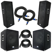 "Pair of Dual 15"" PA Speakers, Pair of Powered 18"" Subs, and Cables"
