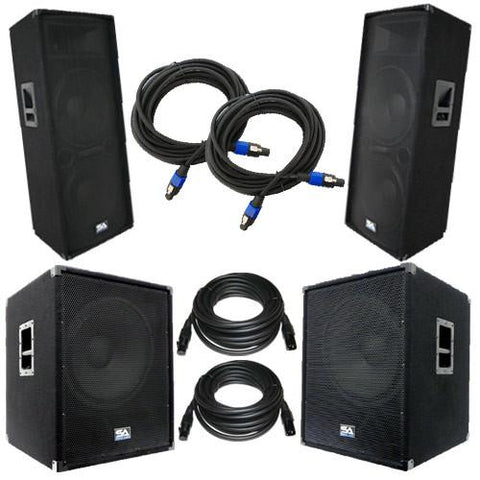 "Pair of Dual 15"" PA Speakers, Pair of Powered 18"" Subs, and 4 Cables"