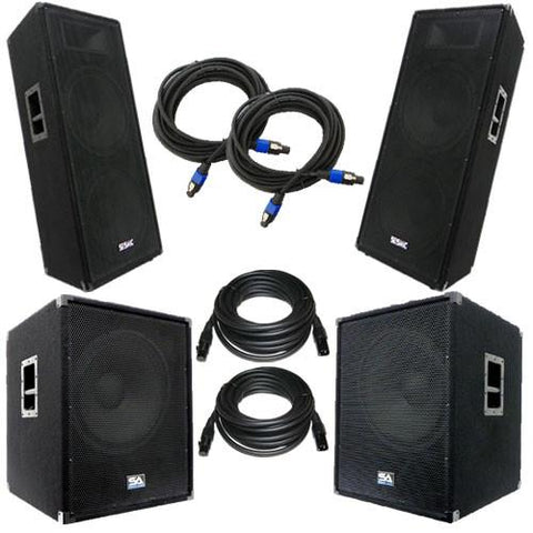 "Pair of Dual 15"" PA DJ Speakers, Pair of Powered 18"" Subs, and 4 Cables"