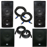 "Pair of Dual 12"" PA Speakers, Pair of Powered 18"" Subs, and Cables"