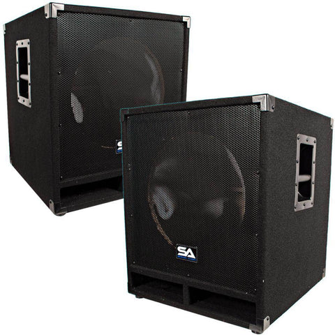 Pair of Empty 15 Inch Pro Audio Subwoofer Cabinets