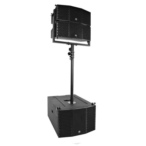 Compact 3x10 Line Array Subwoofer, Pair of Compact 2x5 Line Array Speakers, & Mounting Pole