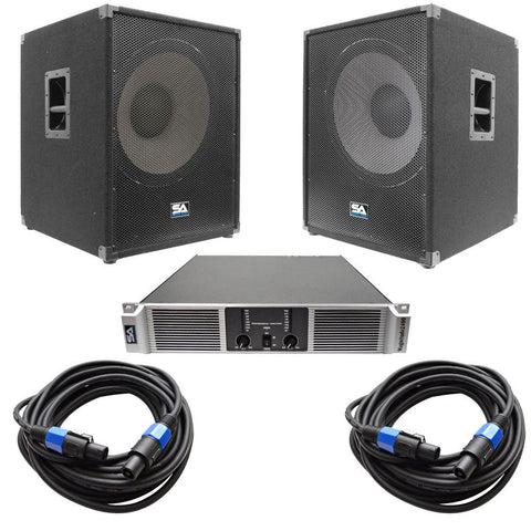 "Pair of Enforcer II 18""  Pro Audio Subwoofer Cabinets, Power Amplifier and Cables"