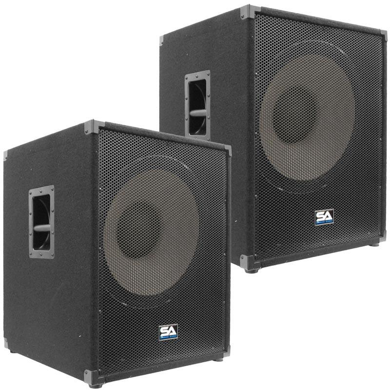 Pair of 18 Inch Powered Subwoofer Bass Cabinet - 1200 Watts RMS ...