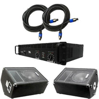 "Pair of 10"" Floor Monitors, Amplifier, and Cables (Add On)"