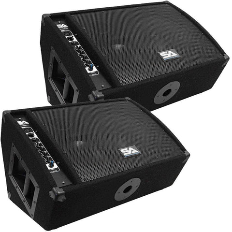 "FL-12MP-PW - Pair of Premium Powered 2-Way 12"" PA Floor Monitors with Titanium Horns"