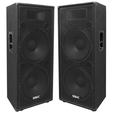 "FL-155PC - Pair of Dual Premium 15"" PA/DJ Speaker Cabinets with Titanium Horns - Wheel Kits and Rear Handles"