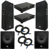 "Premium Dual 15"" PA Speakers, 18"" Enforcer Subs, 2 Amplifiers, and Cables"