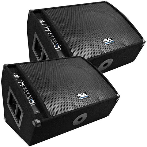 "FL-15MP-PW - Pair of Premium Powered 2-Way 15"" PA Floor Monitors with Titanium Horns"