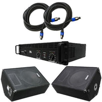 "Pair of 15"" Floor Monitors, Amplifier, and Cables (Add On)"