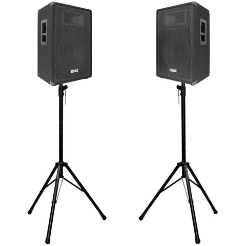 "Pair of Premium 15"" PA Speakers with two tripod speaker stands"