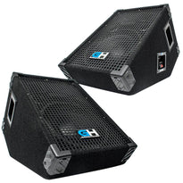 GH10M - Pair of 10 Inch Passive Wedge Floor / Stage Monitors 300 Watts RMS - PA/DJ Stage, Studio, Live Sound 10 Inch Monitors