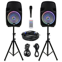 SA-KP15PG - Powered 15 Inch PA DJ Karaoke Party Speaker System with Stands - Bluetooth, LED Lights, Microphone, Cable and Remote